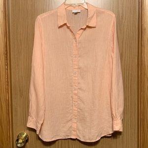 J. Jill Love Linen Peach Long Sleeve Blouse Small